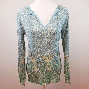 Elie Tahari floral silk blend blouse blue green Lg